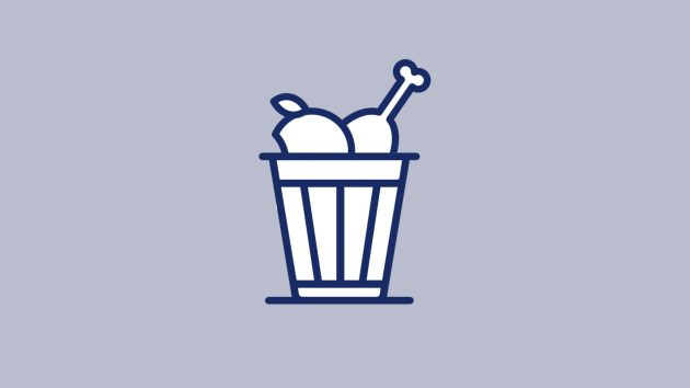 Icon graphic shows food in a waste bin