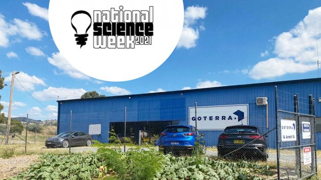 Photo of Goterra building in Hume with a blue sky and the National Science Week logo