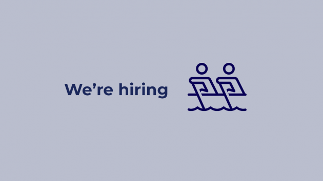 We're hiring image with icon representing 2 people rowing together
